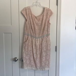 Blush Pink Embroidered Cocktail Dress